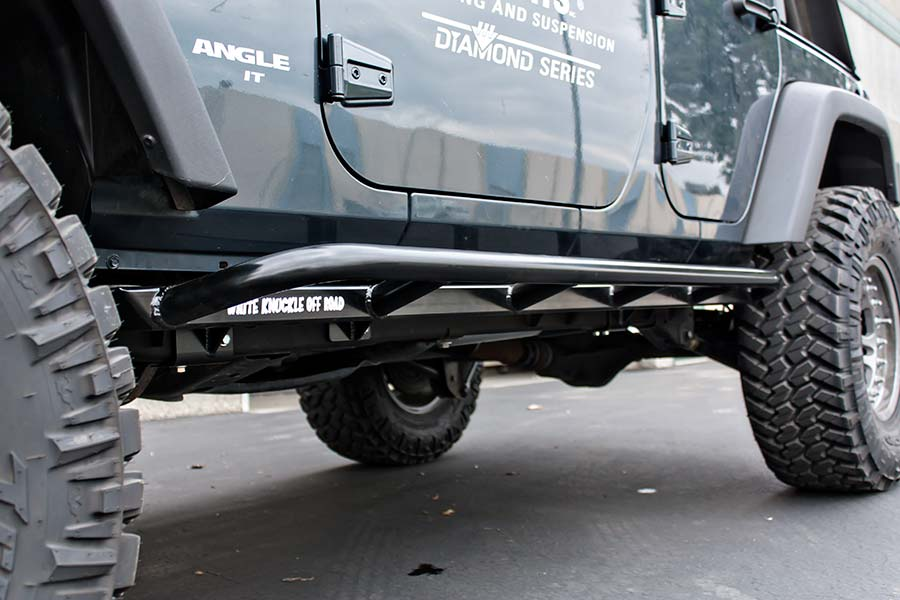 project jk white knuckle offroad rock sliders powder coated installed